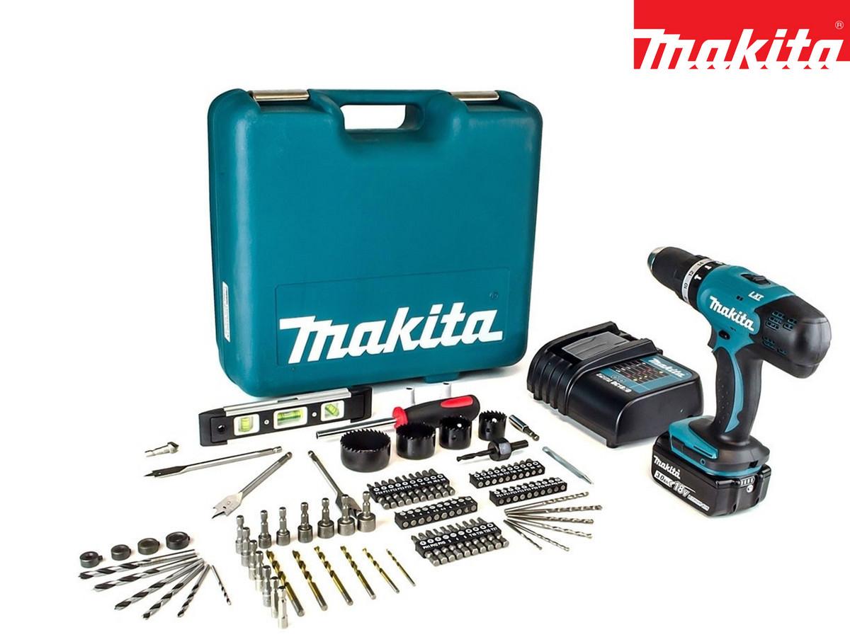 "Makita 18V-Schlagbohrschrauber ""DHP453SFTK"" (Schnellladegerät, 3Ah-Akku, 101-tlg. Zubehörsatz, Koffer) [iBOOD]"