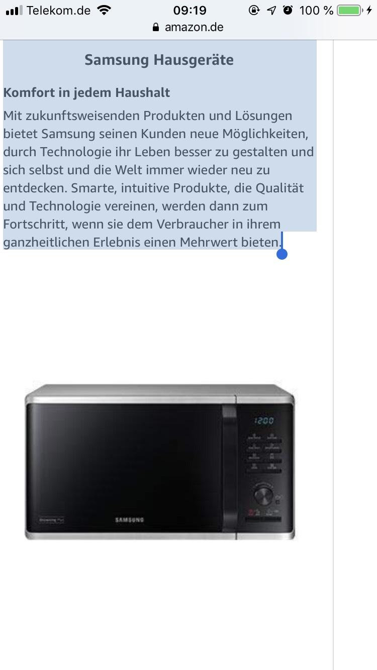 Preisfehler! Mikrowelle von Samsung für 11,79€