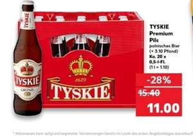 Kaufland ab Montag 06.05.19 Tyskie Piwo Bier 20x05l für 11,00€ pro Kasten zzgl Pfand. Na zdrowie!