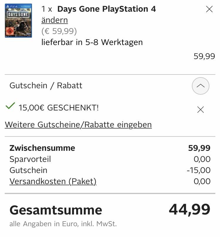 Days gone für 44,99€ dank Neukundenrabatt