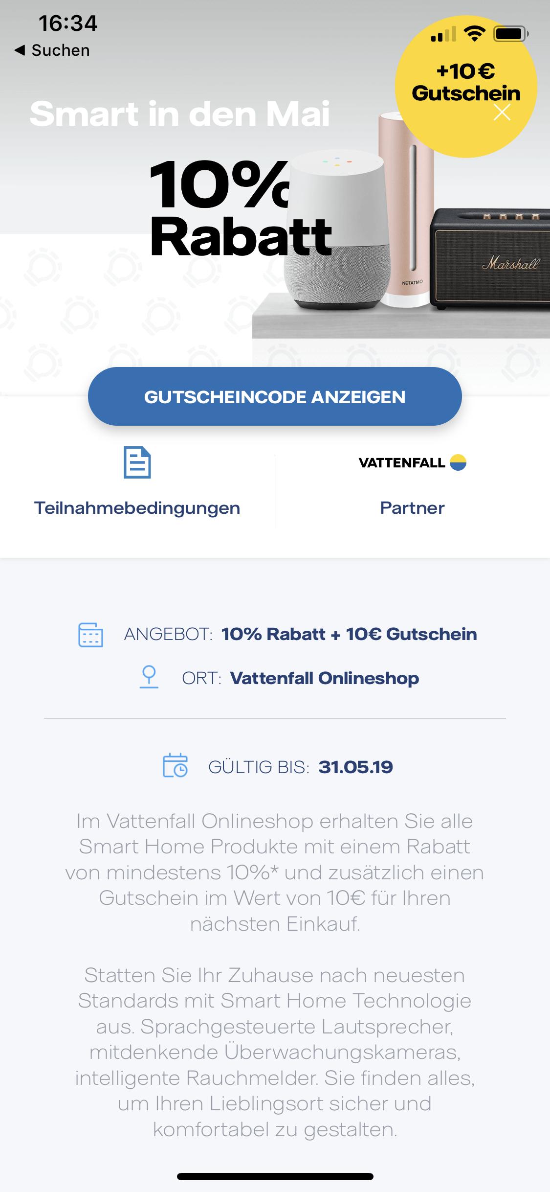 [Vattenfall Kunden] 10 Euro tink Gutschein mit 70 Euro MBW in der My Highlights App, Freebies möglich