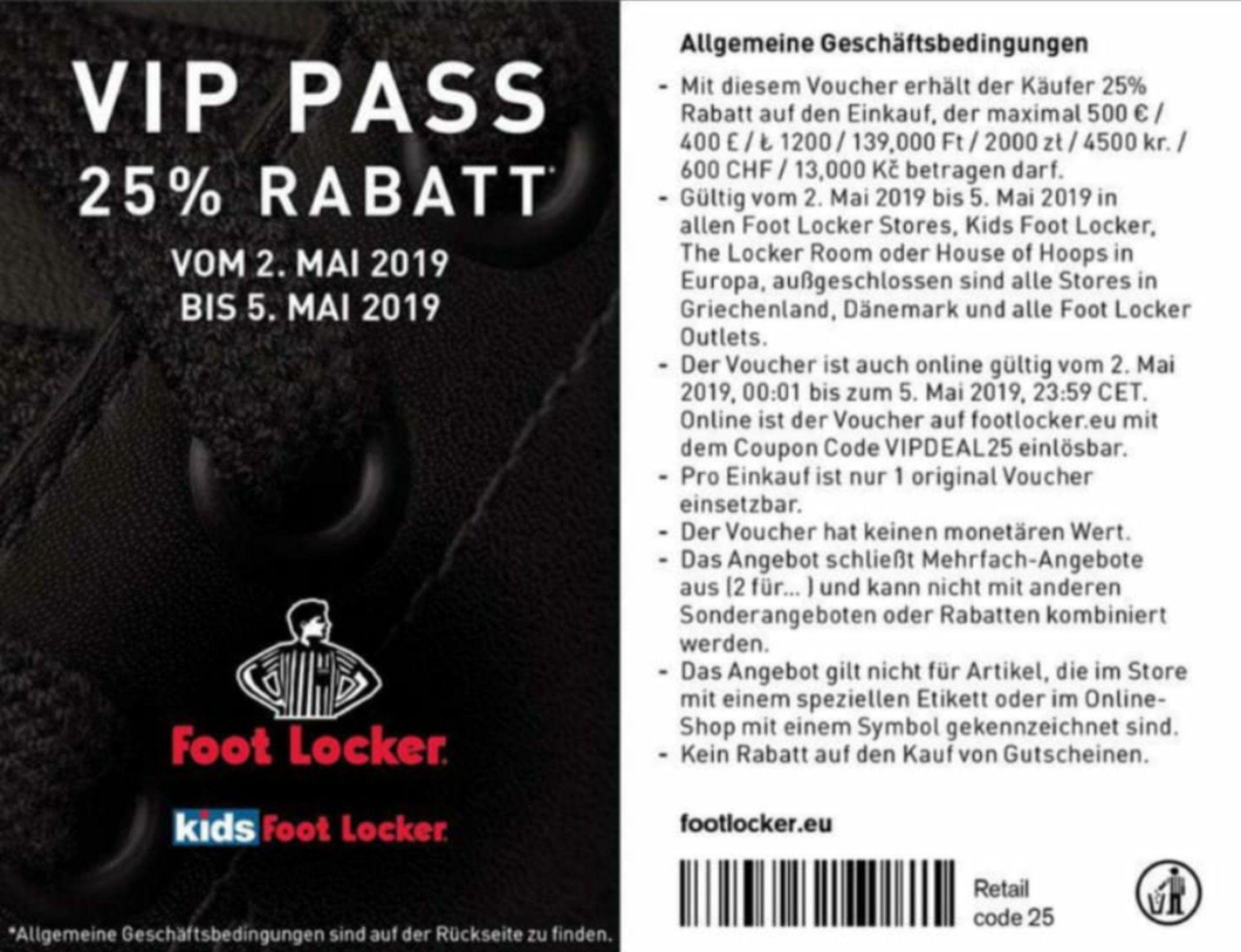 25% Rabatt in Foot Locker