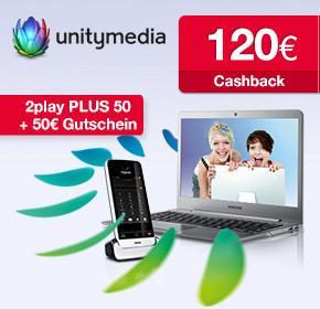 Unitymedia 2play PLUS 50 mit 120€ Cashback + 50€ BestChoice-Gutschein