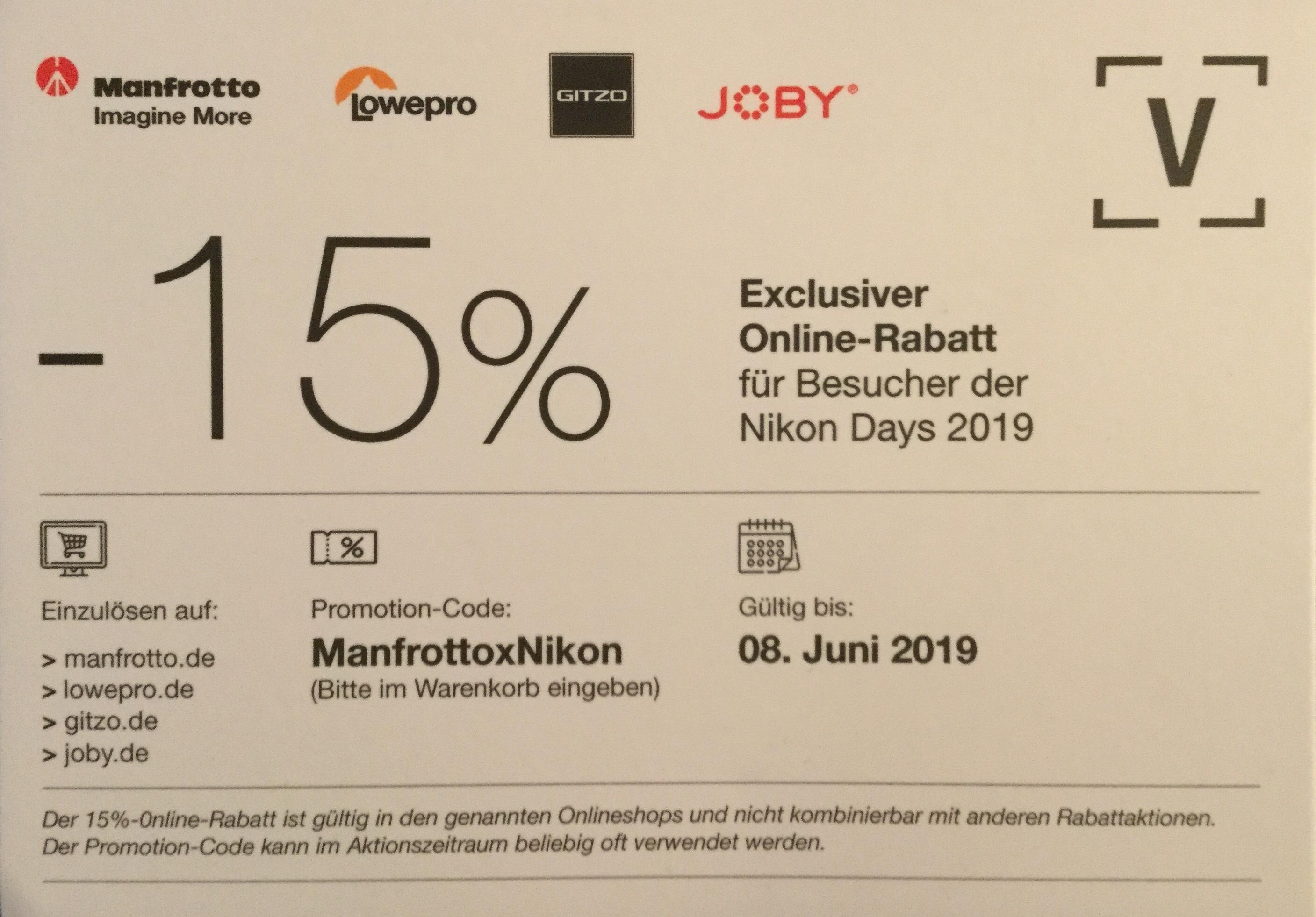 15% Online Rabatt bei Manfrotto, Lowepro, Gitzo und Joby
