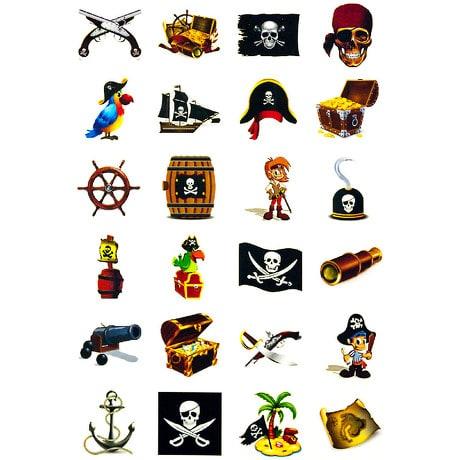 Klebetattoos Kinder Tattoo Set - Piraten Motive