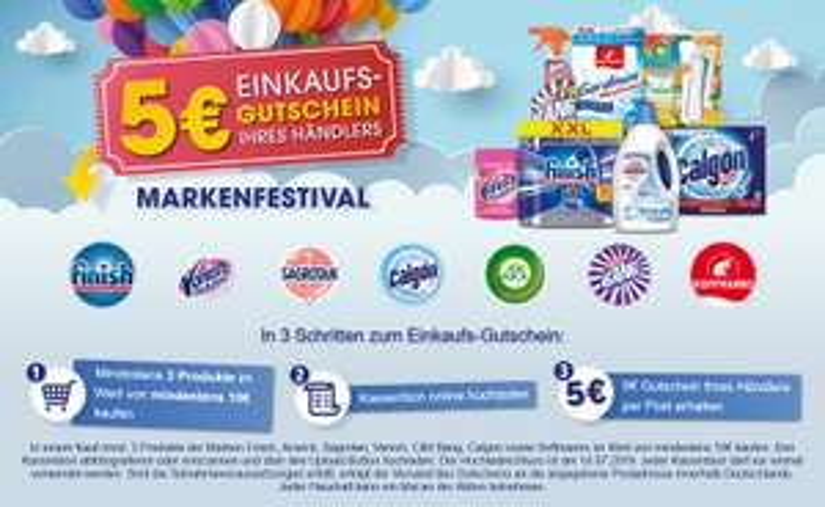 Finish,Airwick,Sagrotan,Vanish,Cillit Bang,Calgon,Hoffmanns für 10€ kaufen / 5€ Einkaufsgutschein erhalten