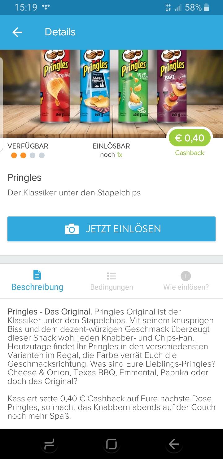 *Marktguru* Pringles 0,40€ Cashback / 0,50€ in der Rossmann Liste