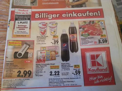 [Norddeutschland?] Kaufland-Angebote ab 26. 11. 2012 - z.B. Schwip Schwap für 59 Cent. 4x Kinder Schokolade für 2,22€  und Pudding für 11 Cent