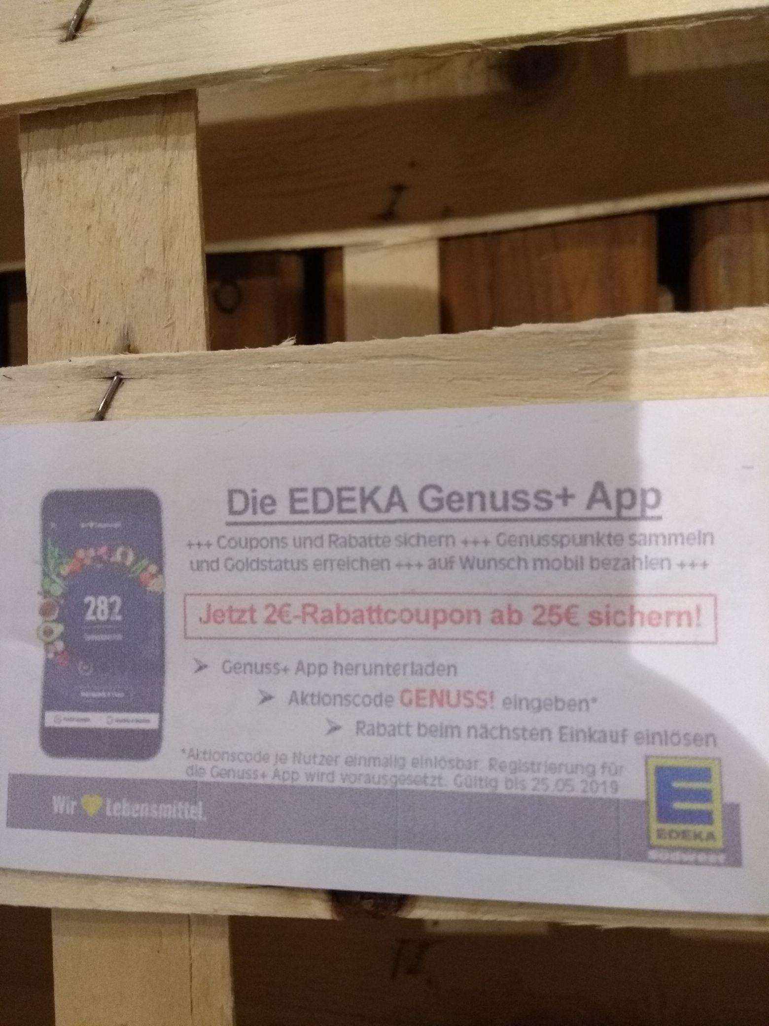 Edeka App 2Euro Rabatt ab 25Euro  Einkauf.Evtl lokal