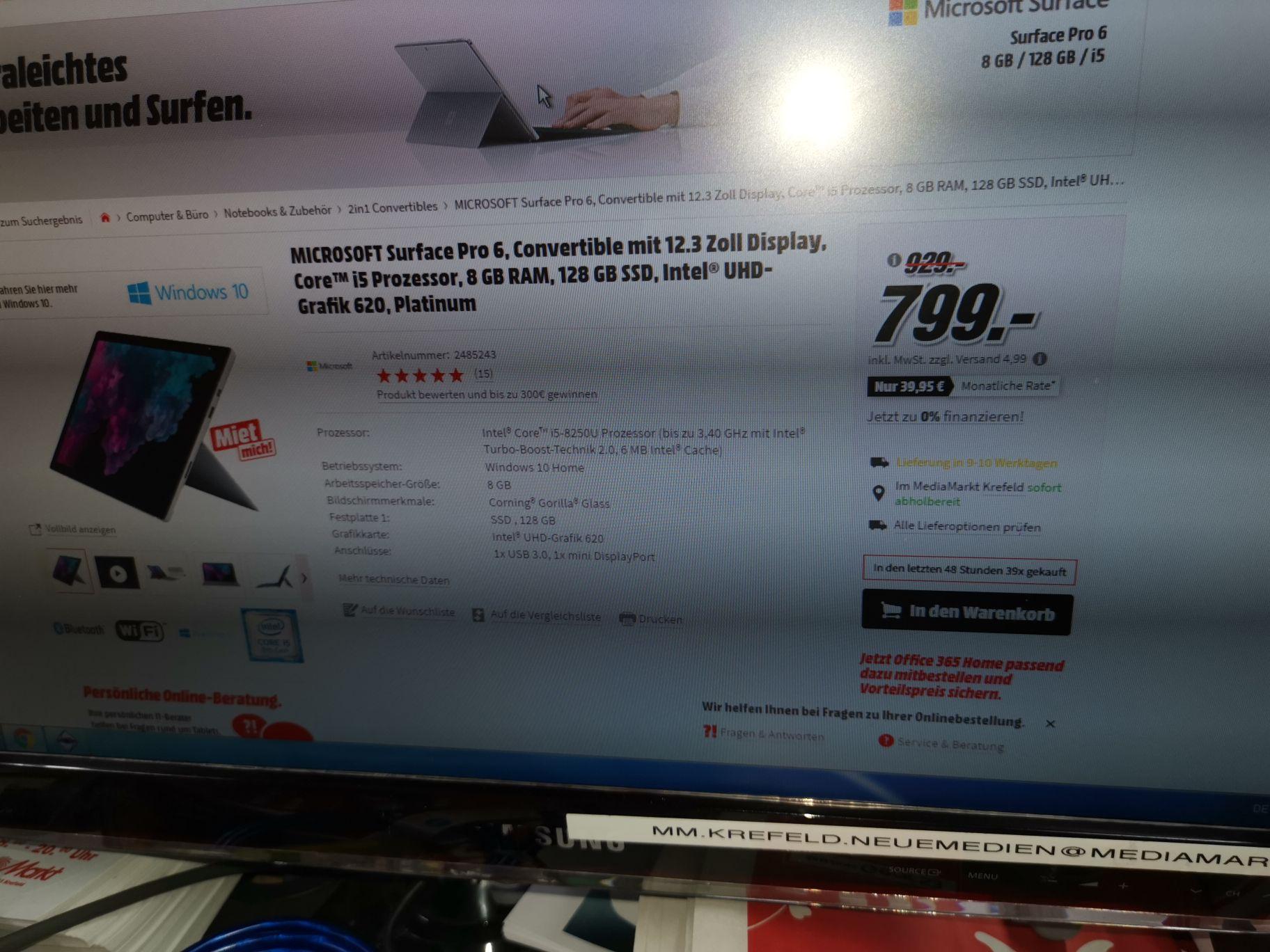 Microsoft Surface Pro 6 128GB SSD 8GB RAM i5 Prozessor