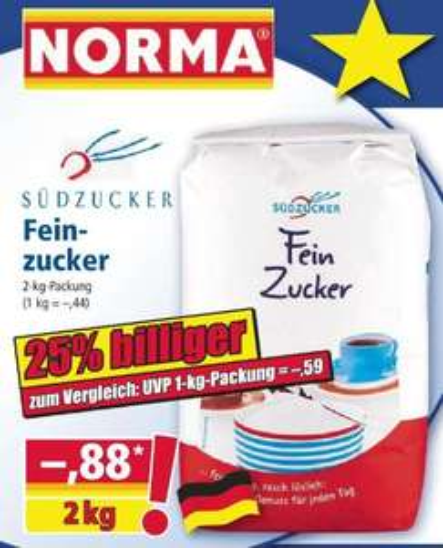 [Norma] Südzucker Fein Zucker 2kg für 0,88€ ,entspricht 0,44€ pro Kilo ( ab dem 10.05.19 )