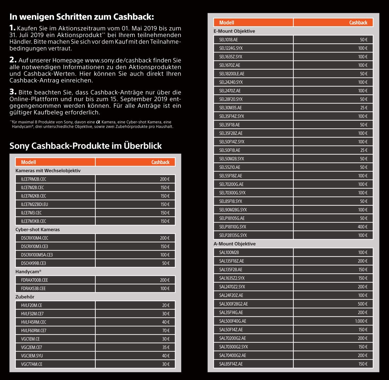 Sony Cashback bis zu 1000€ sparen // A7 III für 1850€!