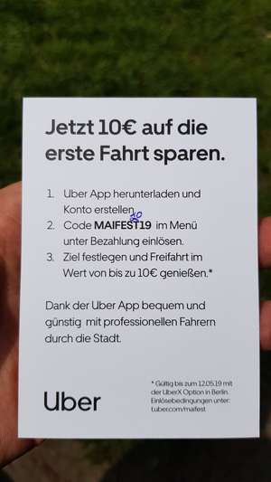 [Uber] 10€ Neukundengutschein/ 15% für Bestandskunden mit MAIFEST2019 in Berlin bei Uber