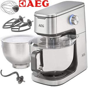 AEG Ultramix KM 7300 Edelstahl-Küchenmaschine, 2 x 5,7 l Edelstahlschüssel, 1,4 PS (1000W) mit diversem Zubehör