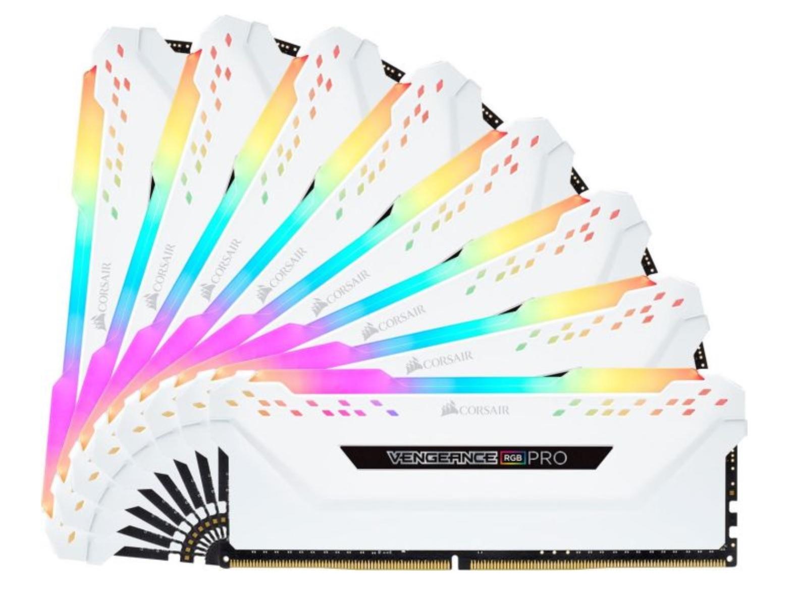 Corsair Vengeance RGB Pro Weiß 64GB Kit (8x8GB) DDR4-2666 CL16 DIMM Arbeitsspeicher