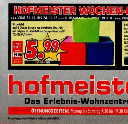 [offline Hofmeister Bietigheim & Leonberg] Sitzwürfel 40x40x40cm