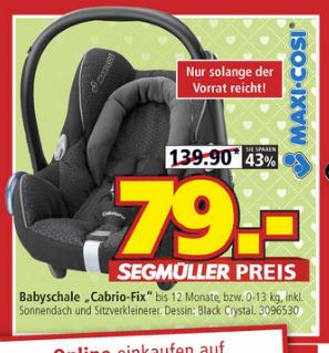 [SEGMÜLLER] Maxi Cosi CabrioFix für 79€ I Philips Avent SCD630 Babyphone für 119€ I Jacobs Krönung für 2,99€