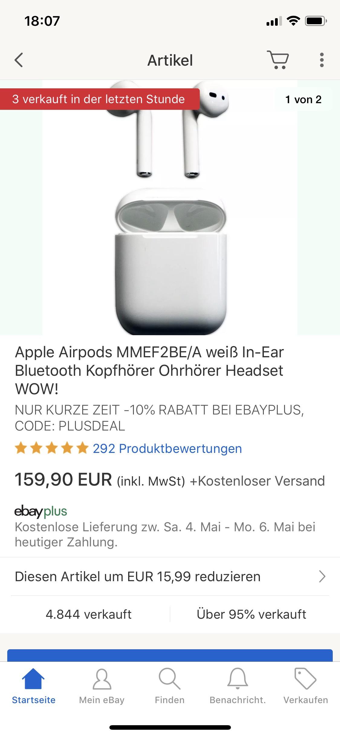 Apple AirPods (eBay Plus Kunden) / 1. Generation