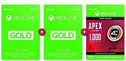 Xbox Live Gold Mitgliedschaft 6 Monate + APEX Legends: 1.000 Coins [Xbox Live Download Code] [Amazon]