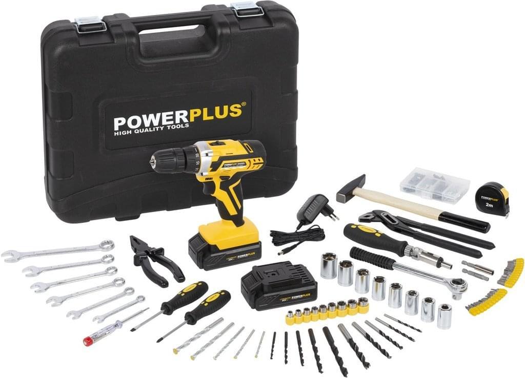 [real]  Powerplus POWX00825 Akku-Bohrschrauber mit 2 Lithium-Batterien + 133 teiliges Zubehör + 2 x 20V Akkus