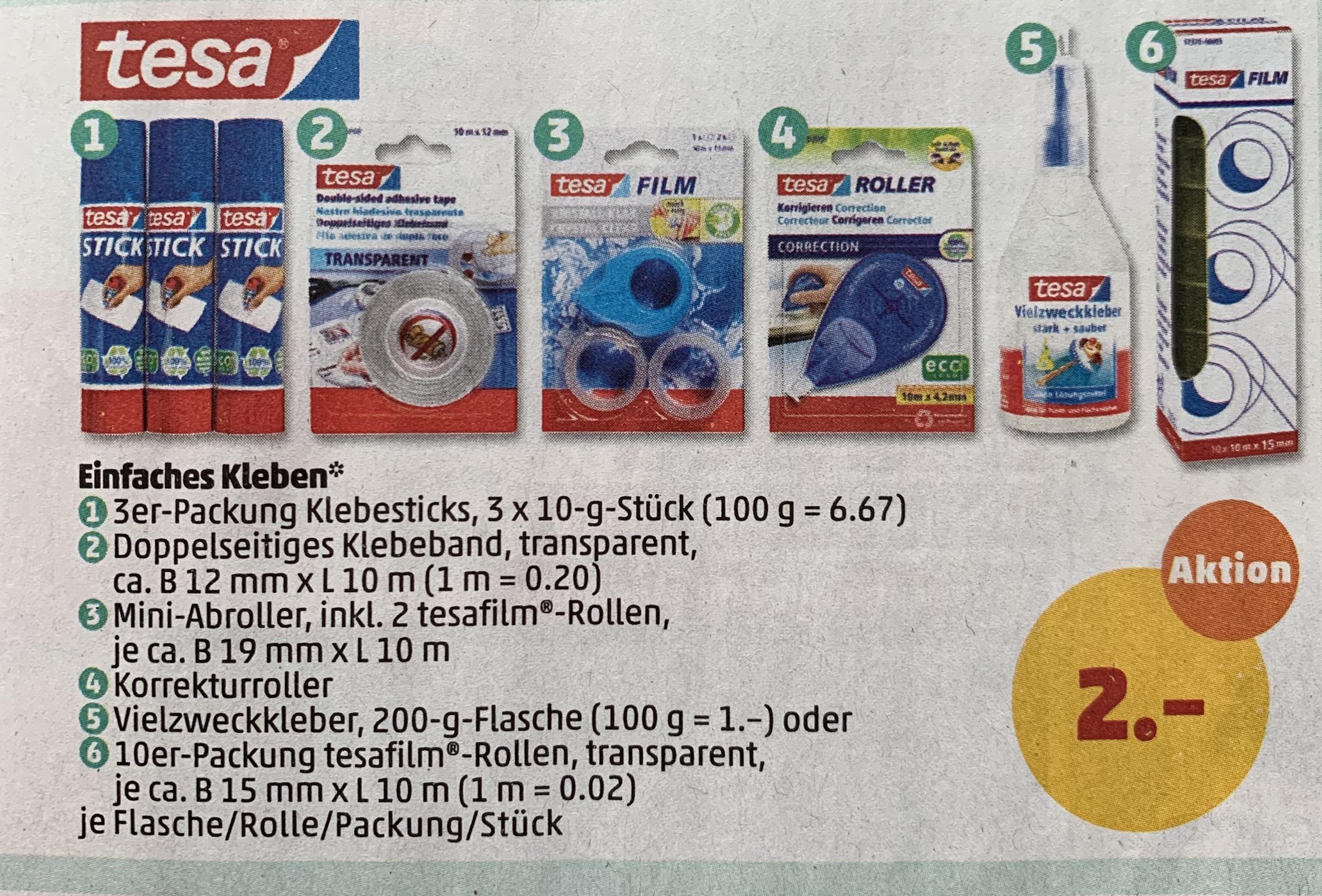 [Penny] Verschiedene Tesa Produkte, z.B. 10 Rollen 57370 Tesafilm für 2€