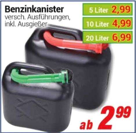 [ Centershop ] Benzinkanister inklusive Ausgießer 5 Liter 2,99€  / 10 Liter 4,99€ / 20 Liter 6,99€ ( Regional NRW / RLP / HE )