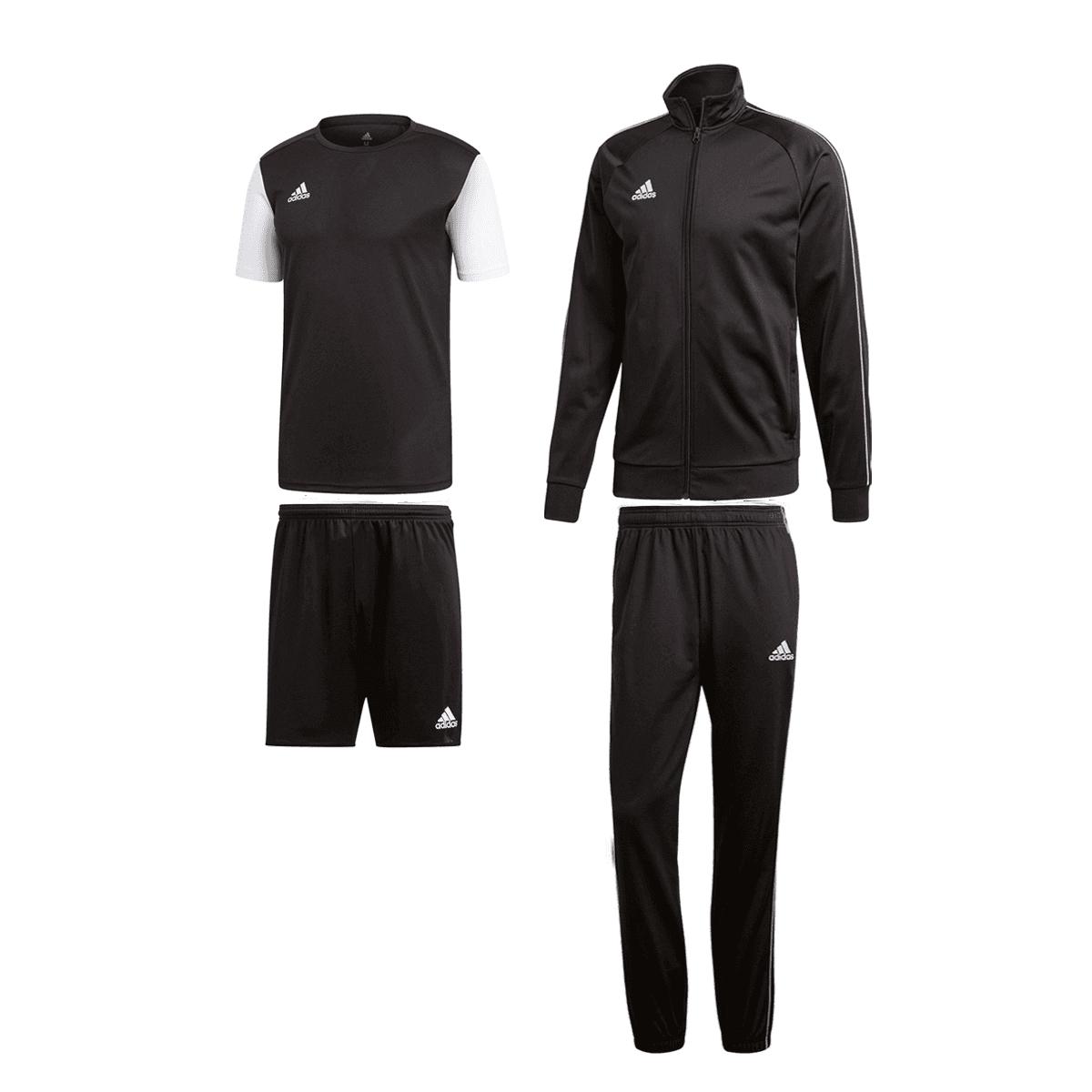 4-teiliges Trainingsset adidas Core 18 (Jacke + T-Shirt + Hose + Shorts) in 5 Farben
