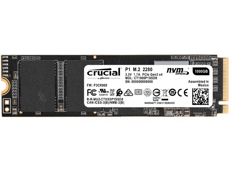 Crucial P1 1 TB M.2 NVMe SSD (2GB/s Lesen, 1,7GB/s Schreiben, QLC Speicher)