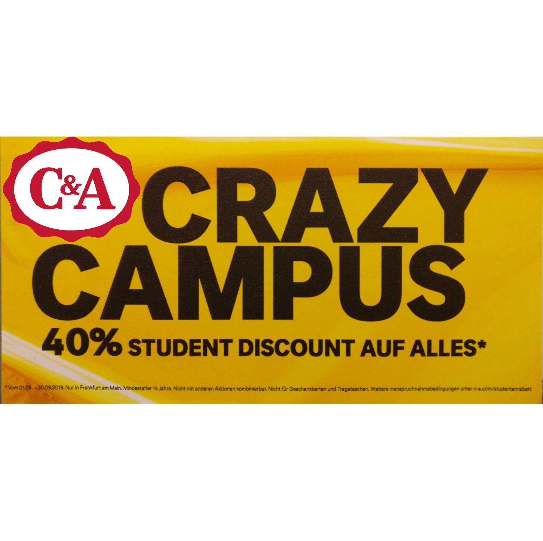 40% Studentenrabatt C&A Frankfurt -> auch Freiburg (25%), Münster (30%), Aachen (15%) [ Studenten / Studierende ] [ FFM ]