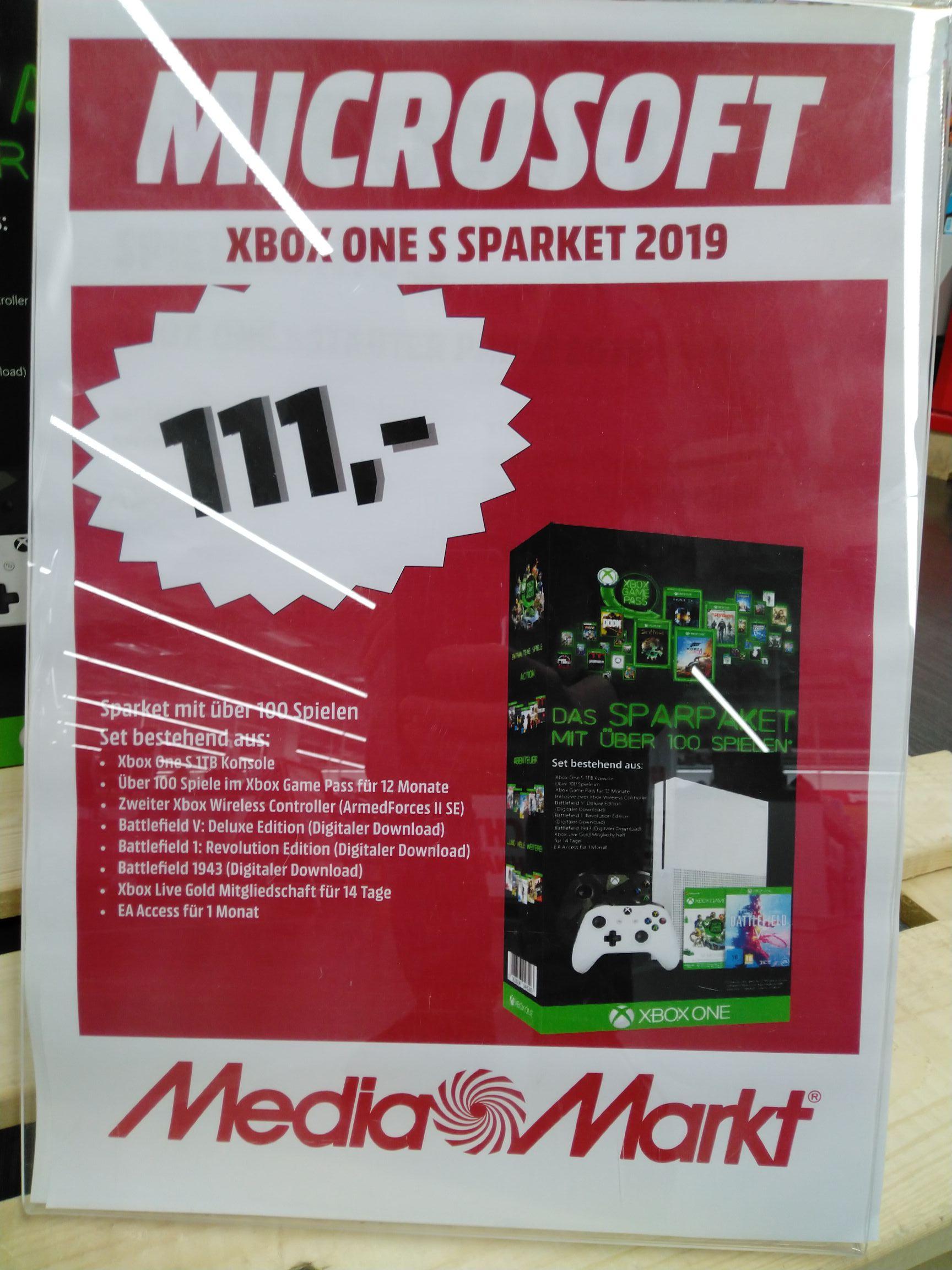 [lokal MM Reutlingen] Xbox One S 1TB Bundle mit 2. Controller , 3 Spielen und 1 Jahr Game Pass