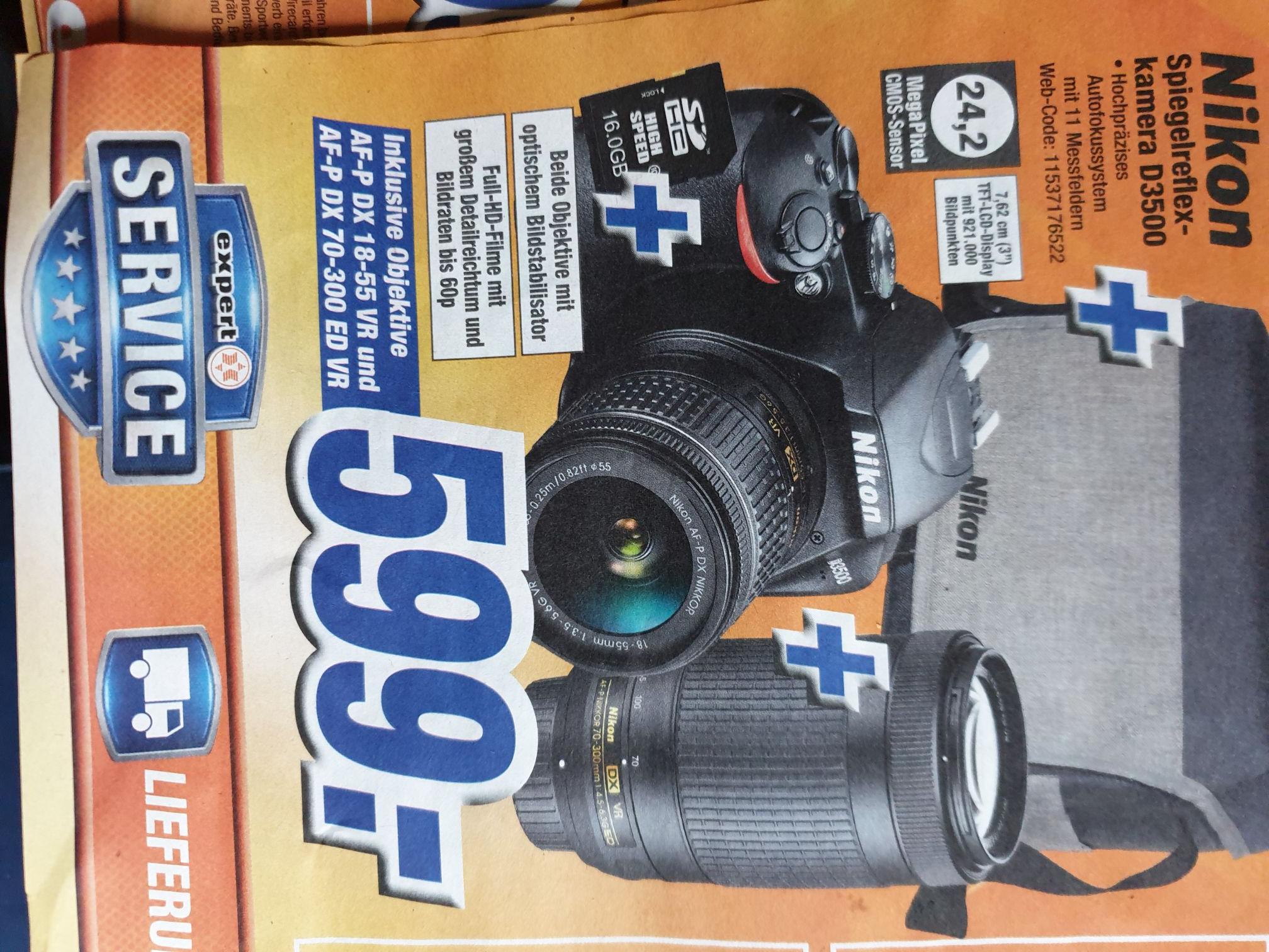 Nikon D3500 Spiegelreflexkamera + 2 Objektive + Tasche + SD-Karte 599€ (lokal ? )