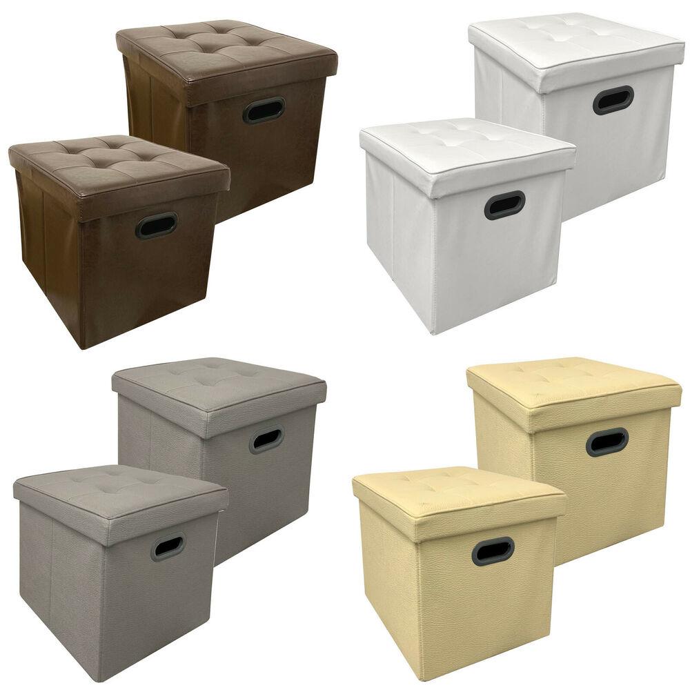 2x Stauraum Sitzhocker aus Kunstleder - Faltbar - Aufbewahrungsbox