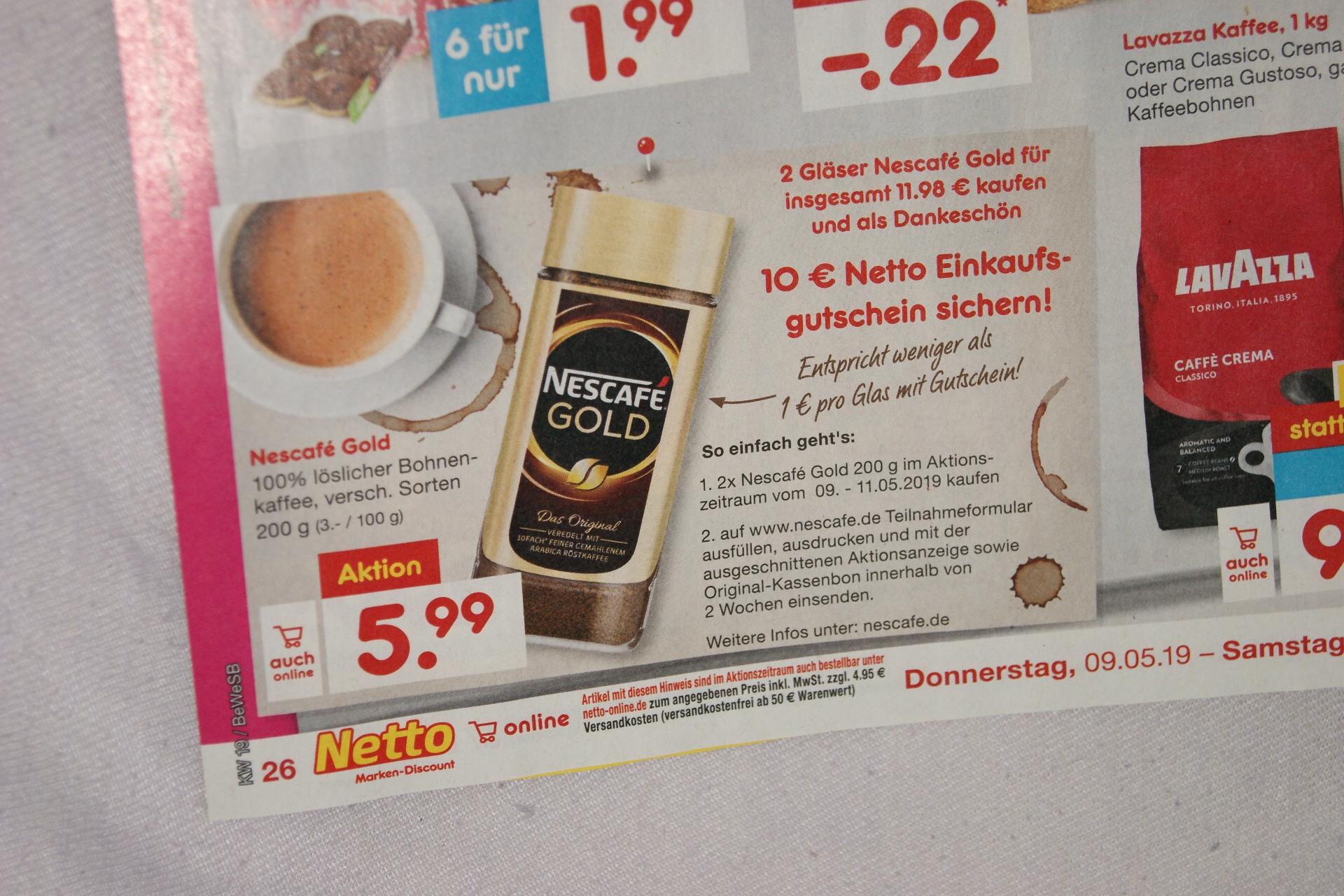 2x Nescafe Gold Kaffee + 10 Euro-Gutschein für Netto für 12,68 Euro bei Netto (ohne Scottie) bundesweit