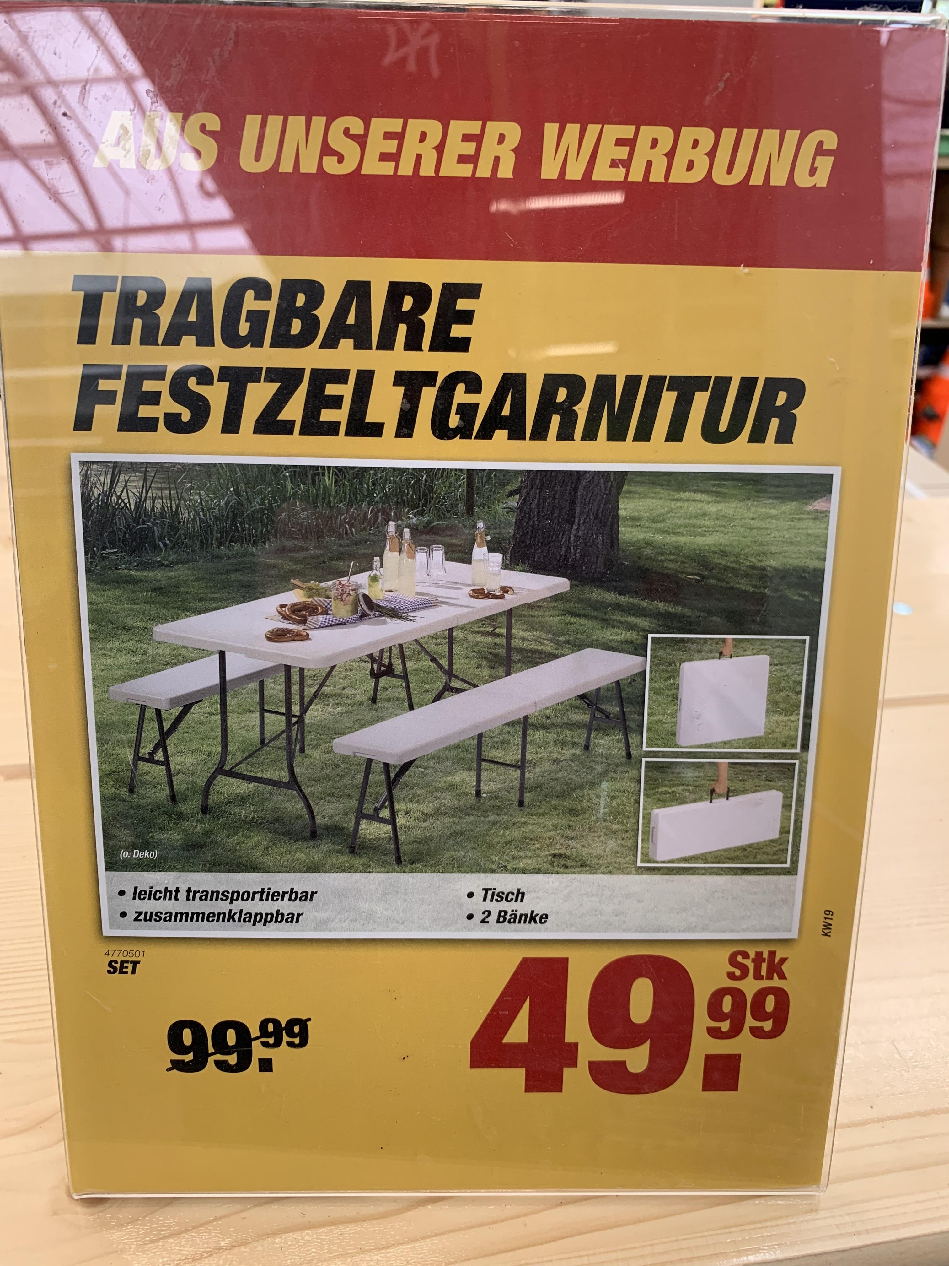 Tragbare Festzeltgarnitur Tisch + Bänke [toom] -10% Shoop = 44,99€