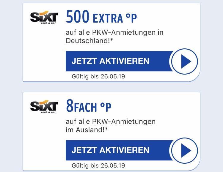8-Fach Payback (~8%) auf Sixt Mietwagen im Ausland