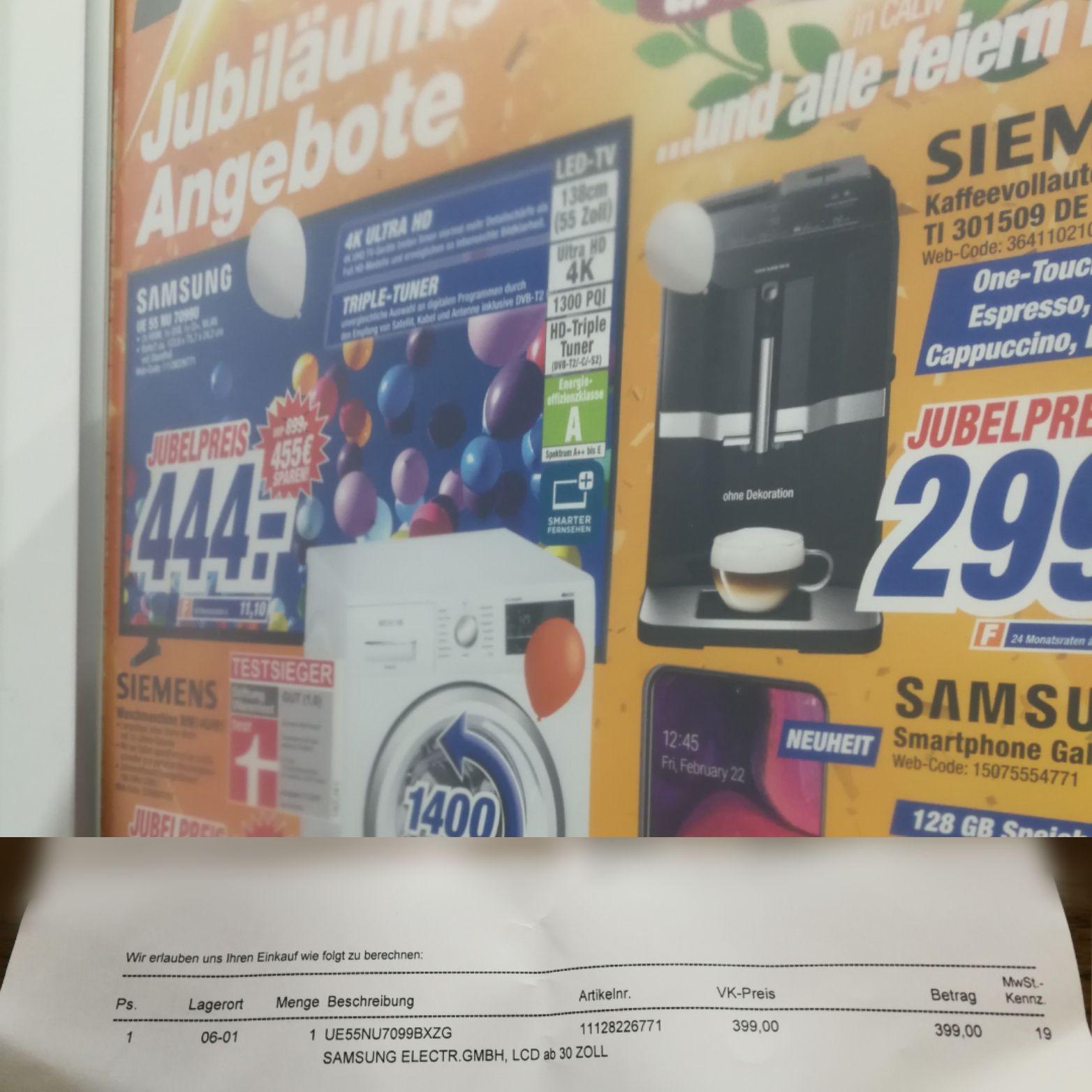 LOKAL Samsung TV UE55NU7099 55 Zoll HDR 4k bei Expert - Abholpreis