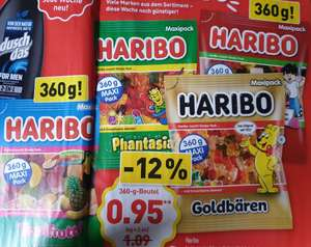 Aldi Nord/Süd ab Montag - Haribo (360gr.) Goldbären / Phantasia / Tropifrutti / Color-Rado