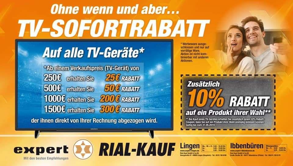 TV Sofortrabatt auf Fernseher: Ab 250€;25€ Rabatt, 500€;50€ Rabatt, 1000€;200€ Rabatt, 1500€;300€ [Lokal Ibbenbüren]