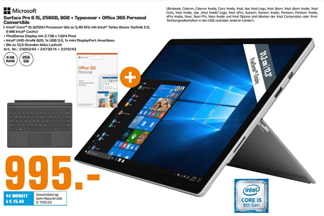 [Regional Saturn Bremen] Surface Pro 6 I5, 256GB, 8GB + Typecover + Office 365 Personal Convertible  für 995,-€