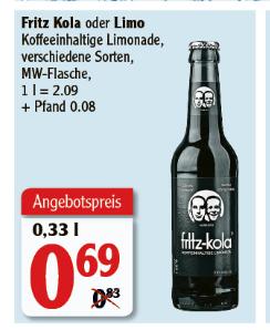 [Globus Rostock] Fritz Kola / Limo - 0,33l Flasche - Preis ist ohne Pfand