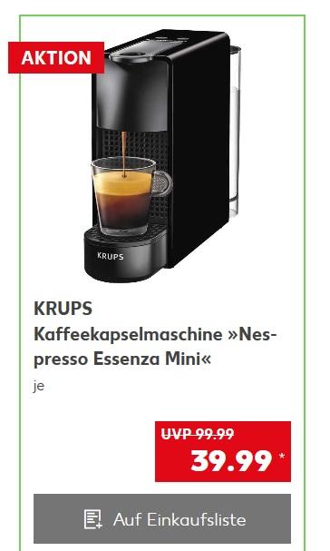 [Kaufland] Krups Nespresso Essenza Mini +  40€ Kaffeeguthaben