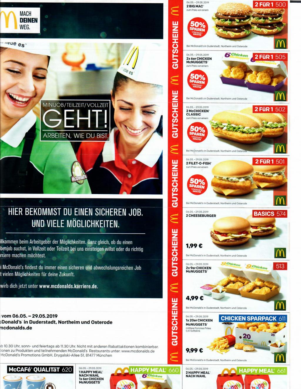 McDonalds Gutscheine / Coupons [Lokal DUD, NOM & OHA]