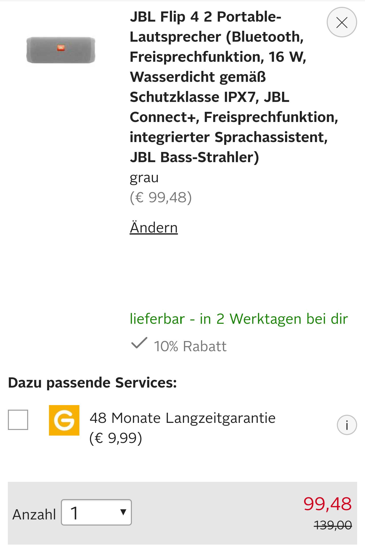 JBL Flip 4  2 Portable-Lautsprecher (grau)