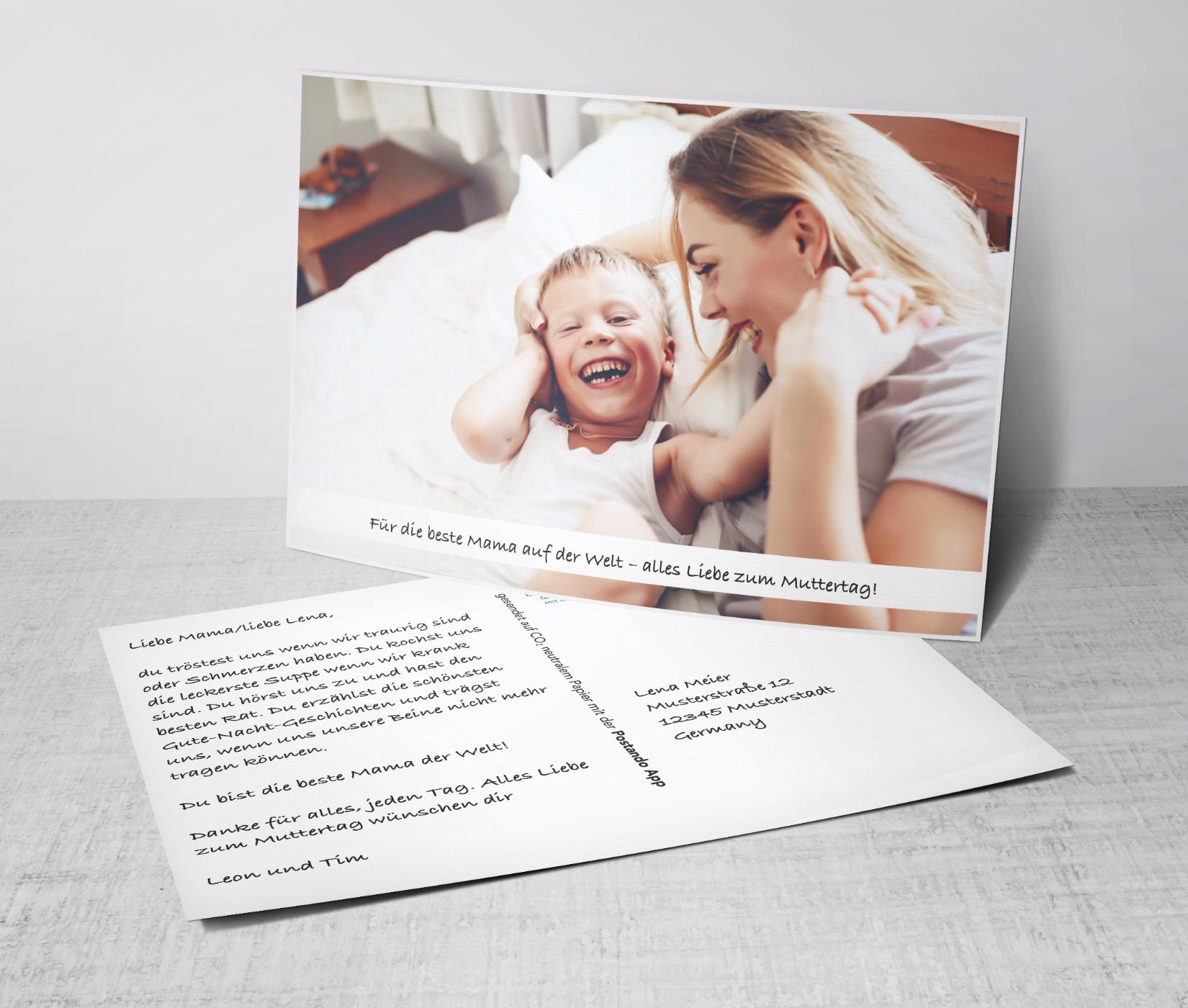 Gratis Muttertagskarte mit eigenen Fotos versenden [Postando App Android & iOS]