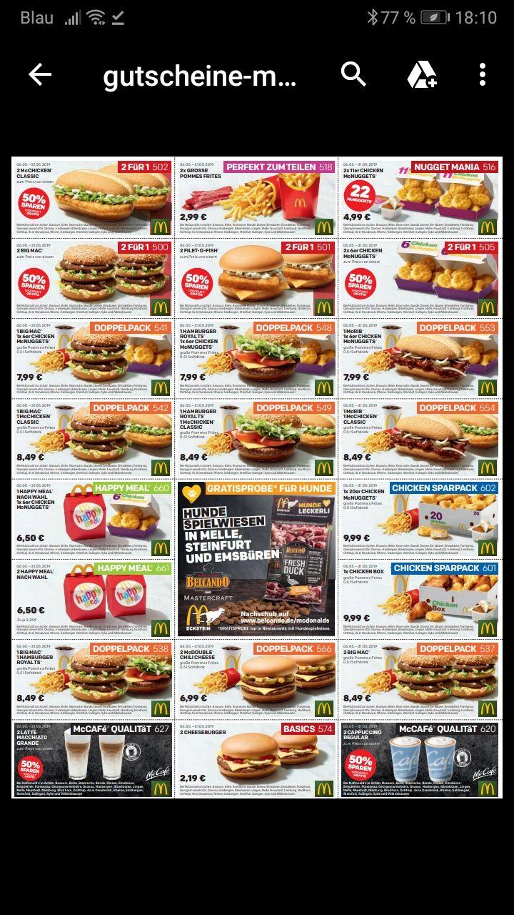 (Lokal Nähe Osnabrück) Neue McDonald's Eckstein Coupons vom 6.5.19-31.5.19 (Bsp 2* große Pommes 2,99€ / 2 für 1 Bic Mac)