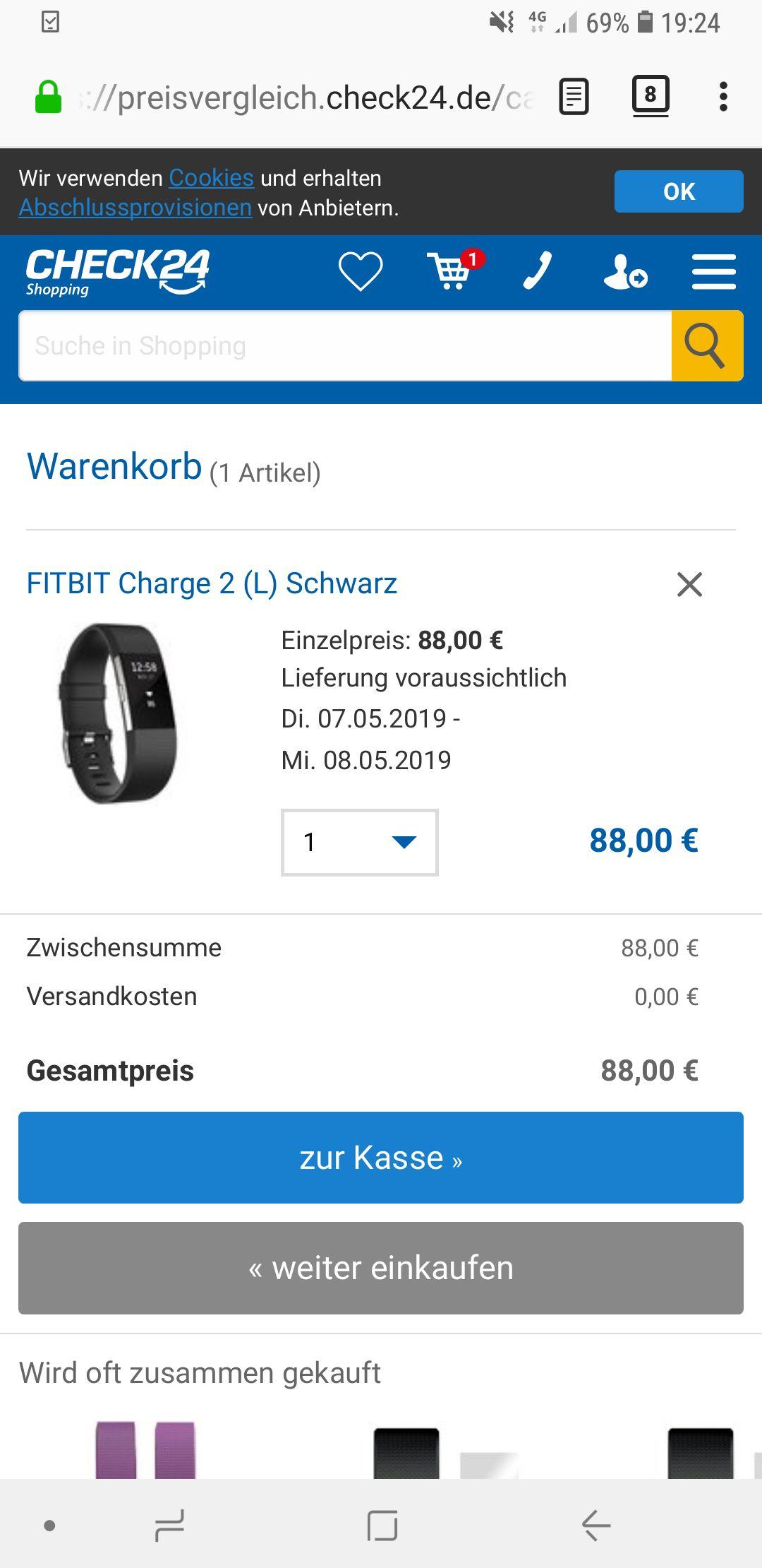 Fitbit Charge 2 schwarz Gr. L 88€ gratis Versand