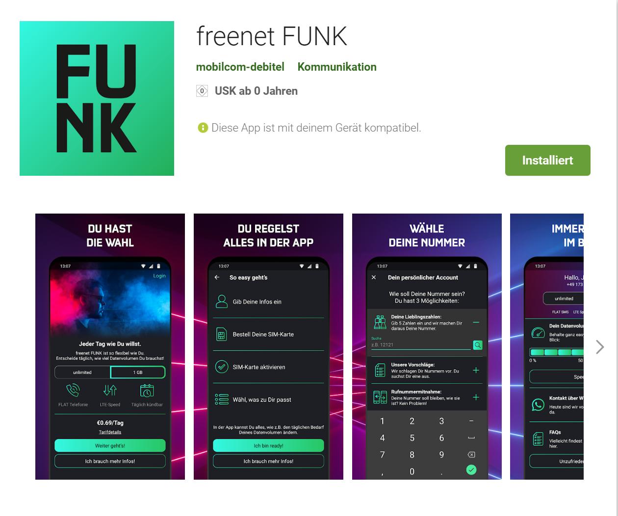 Freenet Funk - Unlimitierte LTE-Allnet-Flat für 99 Cent/Tag | 1GB für 69 Cent/Tag (o2-Netz)