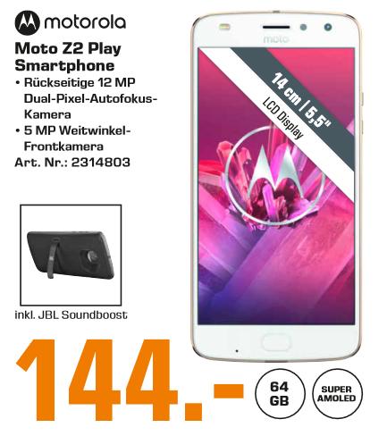 "[Lokal: Saturn Celle & Hildesheim] Motorola Moto Z2 Play 5.5"" Dual-SIM (64GB, 4GB RAM, USB-C, NFC) + SoundBoost 2   JBL Partybox 200 @279€"