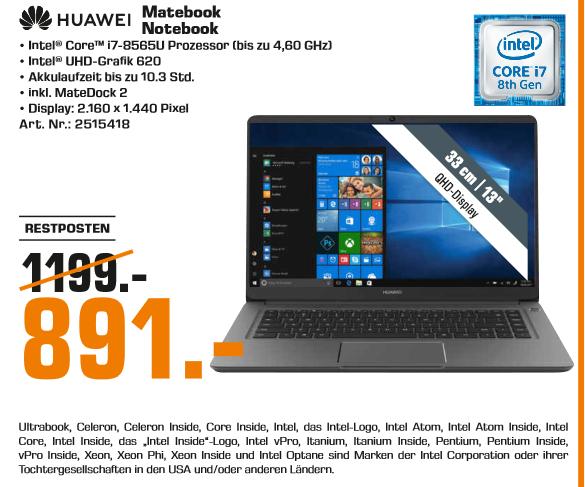 "[Lokal: Saturn Münster York Center] Huawei Matebook 13 - 13"" 2K IPS Notebook (i7-8565U, 8GB RAM, 512GB SSD, 1.28kg) + Mate20 Lite + MateDock"
