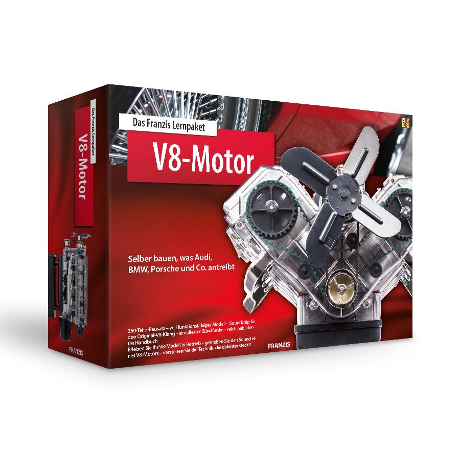 Franzis Lernpaket: V8-Motor (250 Bauteile + Handbuch, Soundmodul mit V8-Sound, transparentes Gehäuse, Lüfterrad, Zündverteiler, etc.)